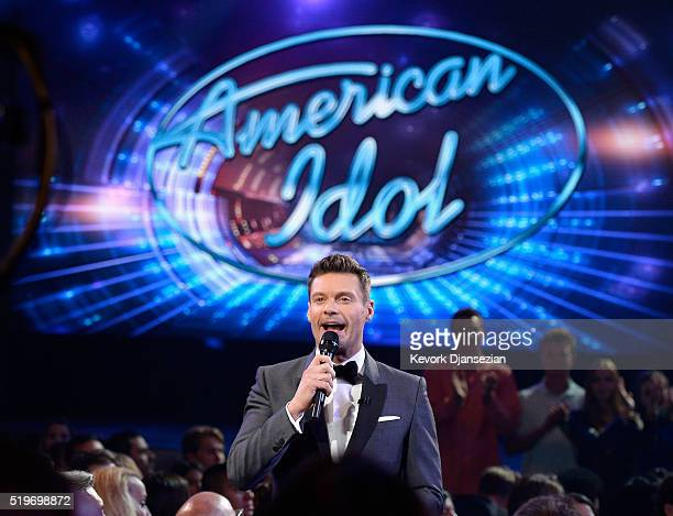 Host Ryan Seacrest speaks in the audience during FOX's 'American Idol' Finale For The Farewell Season at Dolby Theatre on April 7 2016 in Hollywood...