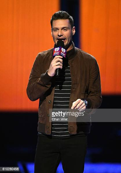 Host Ryan Seacrest speaks onstage at the 2016 iHeartRadio Music Festival at TMobile Arena on September 24 2016 in Las Vegas Nevada