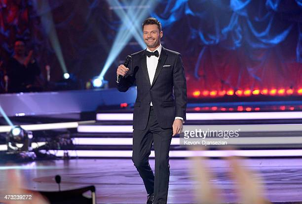 Host Ryan Seacrest speaks onstage during 'American Idol' XIV Grand Finale at Dolby Theatre on May 13 2015 in Hollywood California