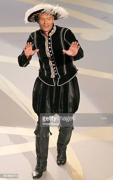 Host Ryan Seacrest speaks onstage during the 59th Annual Primetime Emmy Awards at the Shrine Auditorium on September 16 2007 in Los Angeles California