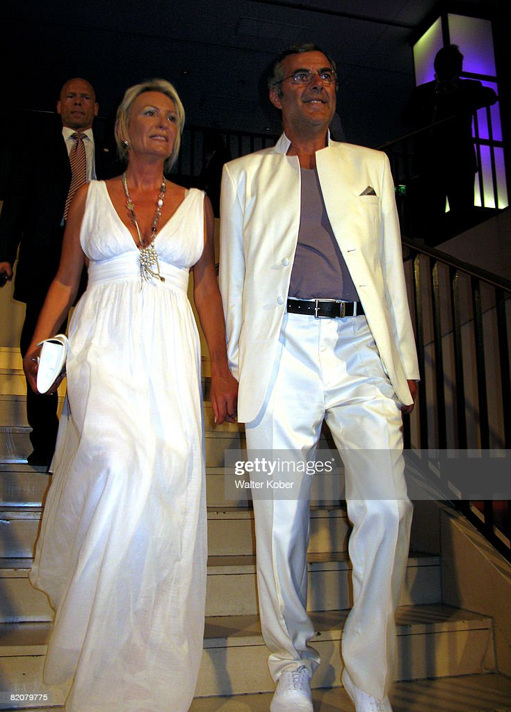 TV host Sabine Christiansen and her husband Norbert Medus attend the wedding celebrations of Udo Walz and his partner Carsten Thamm at the China Club on July 26, 2008 in Berlin, Germany .