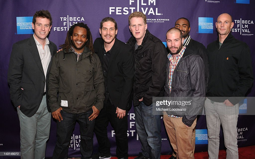 TV Host Sal Masekela (2nd L), Jason Bergh (3rd L), Michael Rapaport (C), Cole Angenendt (3rd R), Daouda Leonard (2nd R) with guests attend the 'Triptych' Shorts Program during the 2012 Tribeca Film Festival at the AMC Lowes Village on April 19, 2012 in New York City.
