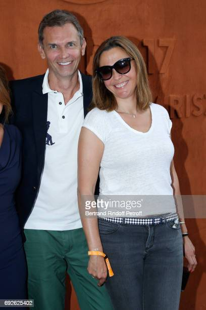 Host Sandrine Quetier and guest attend the 2017 French Tennis Open Day Height at Roland Garros on June 4 2017 in Paris France