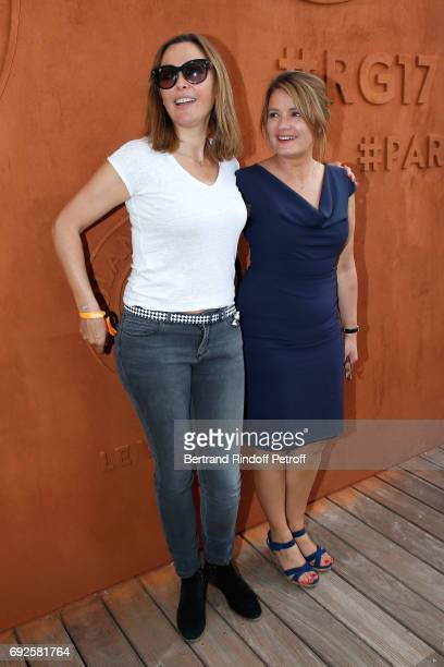 TV Host Sandrine Quetier and journalist Pascale de La Tour du Pin attend the 2017 French Tennis Open Day Height at Roland Garros on June 4 2017 in...