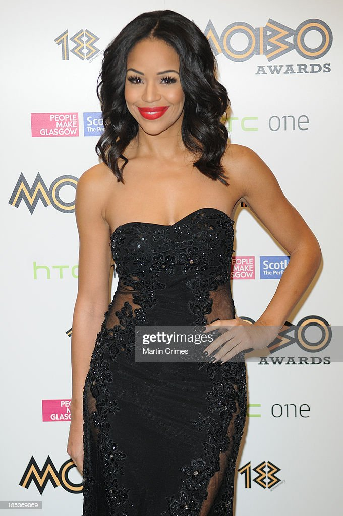 Host Sarah-Jane Crawford at the 18th anniversary MOBO Awards at The Hydro on October 19, 2013 in Glasgow, Scotland.