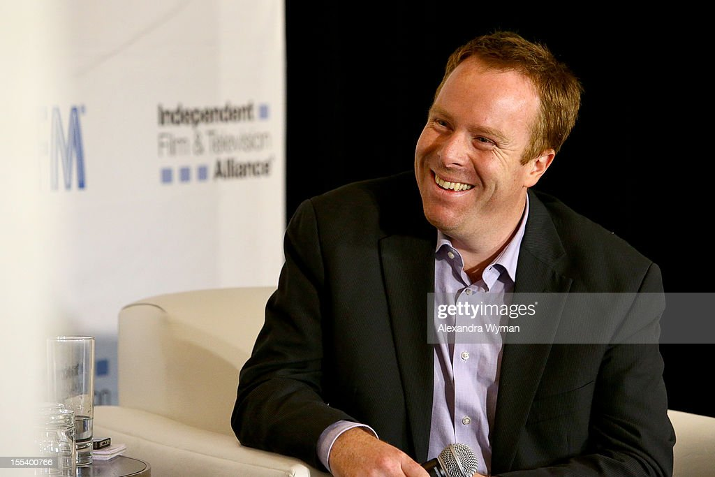 Host Scott Roxborough of the Hollywood Reporter speaks at 'A Conversation with Bonnie Curtis and Victor Levin' at the Loews Santa Monica Beach Hotel on November 3, 2012 in Santa Monica, California.