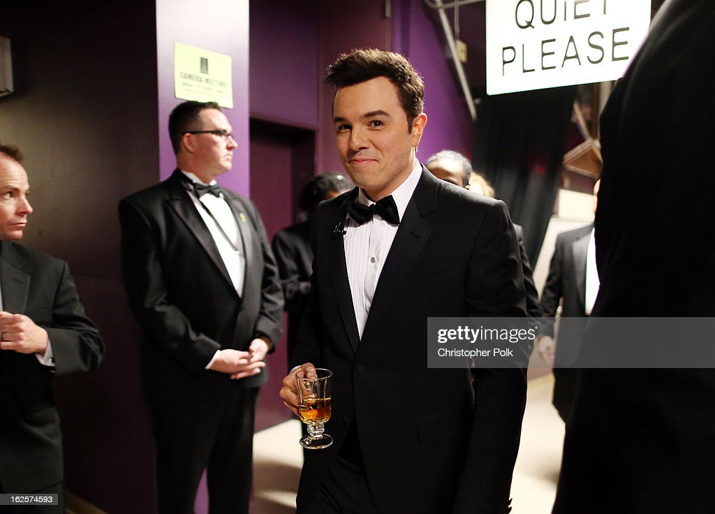 Host <a gi-track='captionPersonalityLinkClicked' href=/galleries/search?phrase=Seth+MacFarlane&family=editorial&specificpeople=549856 ng-click='$event.stopPropagation()'>Seth MacFarlane</a> backstage during the Oscars held at the Dolby Theatre on February 24, 2013 in Hollywood, California.