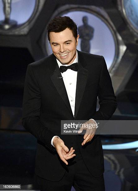 Host Seth MacFarlane speaks onstage during the Oscars held at the Dolby Theatre on February 24 2013 in Hollywood California