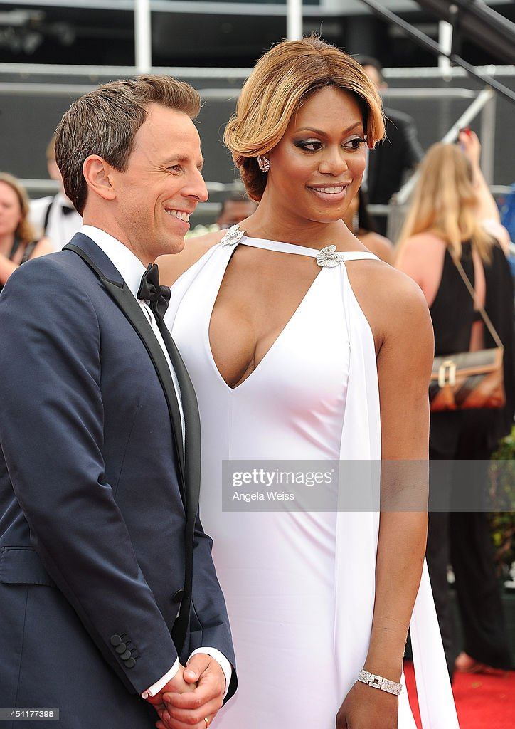 Host <a gi-track='captionPersonalityLinkClicked' href=/galleries/search?phrase=Seth+Meyers&family=editorial&specificpeople=618859 ng-click='$event.stopPropagation()'>Seth Meyers</a> and actress <a gi-track='captionPersonalityLinkClicked' href=/galleries/search?phrase=Laverne+Cox&family=editorial&specificpeople=5848606 ng-click='$event.stopPropagation()'>Laverne Cox</a> attend the 66th Annual Primetime Emmy Awards held at the Nokia Theatre L.A. Live on August 25, 2014 in Los Angeles, California.