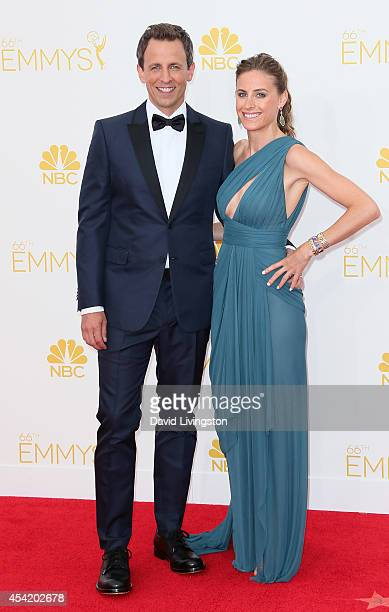 TV host Seth Meyers and wife Alexi Ashe attend the 66th Annual Primetime Emmy Awards at the Nokia Theatre LA Live on August 25 2014 in Los Angeles...