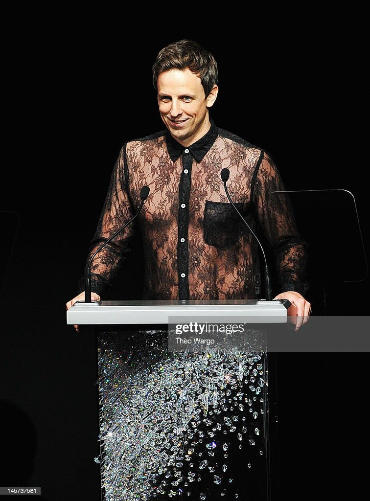 Host <a gi-track='captionPersonalityLinkClicked' href=/galleries/search?phrase=Seth+Meyers&family=editorial&specificpeople=618859 ng-click='$event.stopPropagation()'>Seth Meyers</a> speaks on stage at the 2012 CFDA Fashion Awards at Alice Tully Hall on June 4, 2012 in New York City.