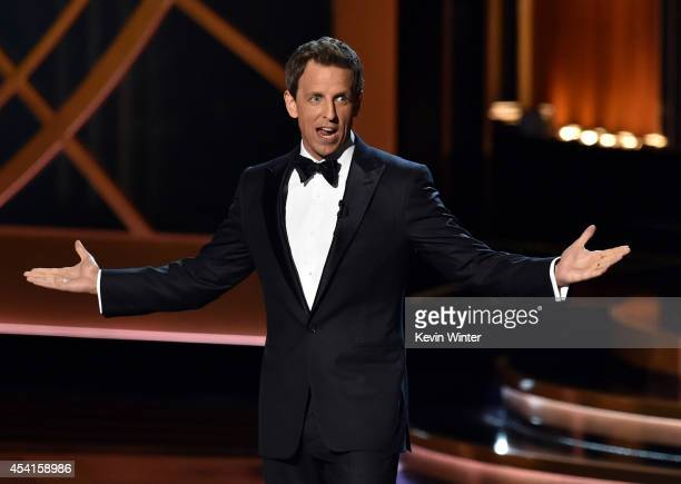 Host Seth Meyers speaks onstage at the 66th Annual Primetime Emmy Awards held at Nokia Theatre LA Live on August 25 2014 in Los Angeles California