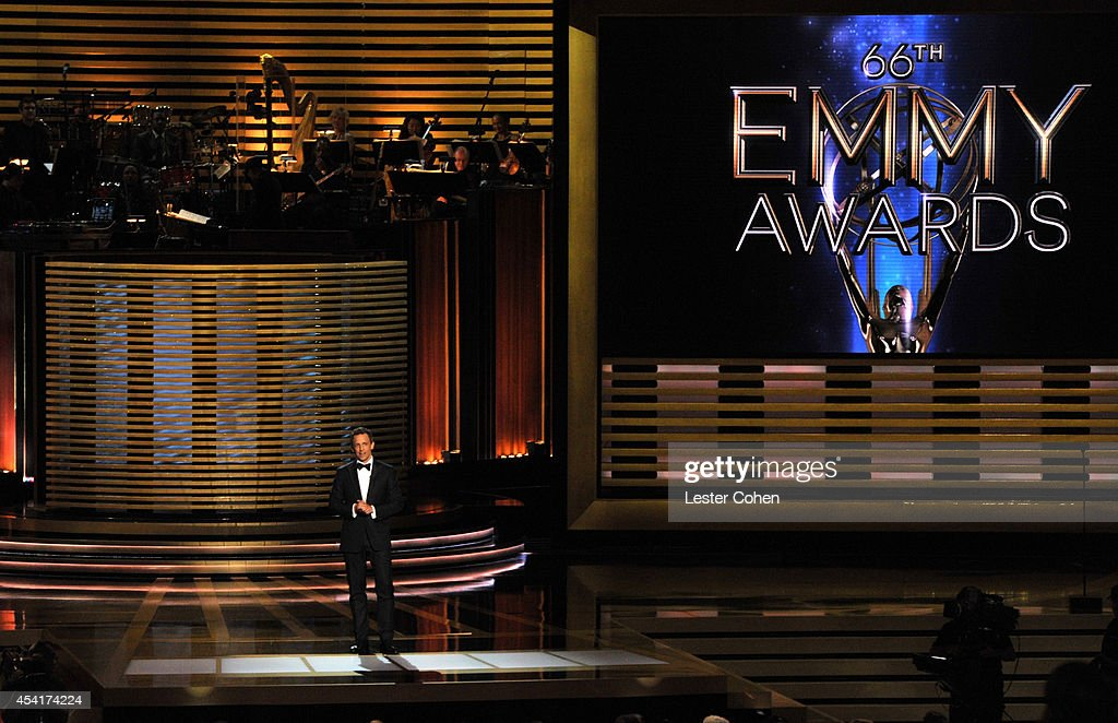 Host <a gi-track='captionPersonalityLinkClicked' href=/galleries/search?phrase=Seth+Meyers&family=editorial&specificpeople=618859 ng-click='$event.stopPropagation()'>Seth Meyers</a> speaks onstage at the 66th Annual Primetime Emmy Awards held at Nokia Theatre L.A. Live on August 25, 2014 in Los Angeles, California.
