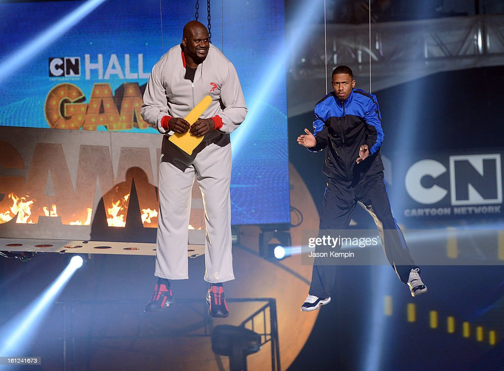 Host Shaquille O'Neal and co-host Nick Cannon look on suspended in the air above the stage at the Third Annual Hall of Game Awards hosted by Cartoon Network at Barker Hangar on February 9, 2013 in Santa Monica, California. 23270_003_JK_0293.JPG
