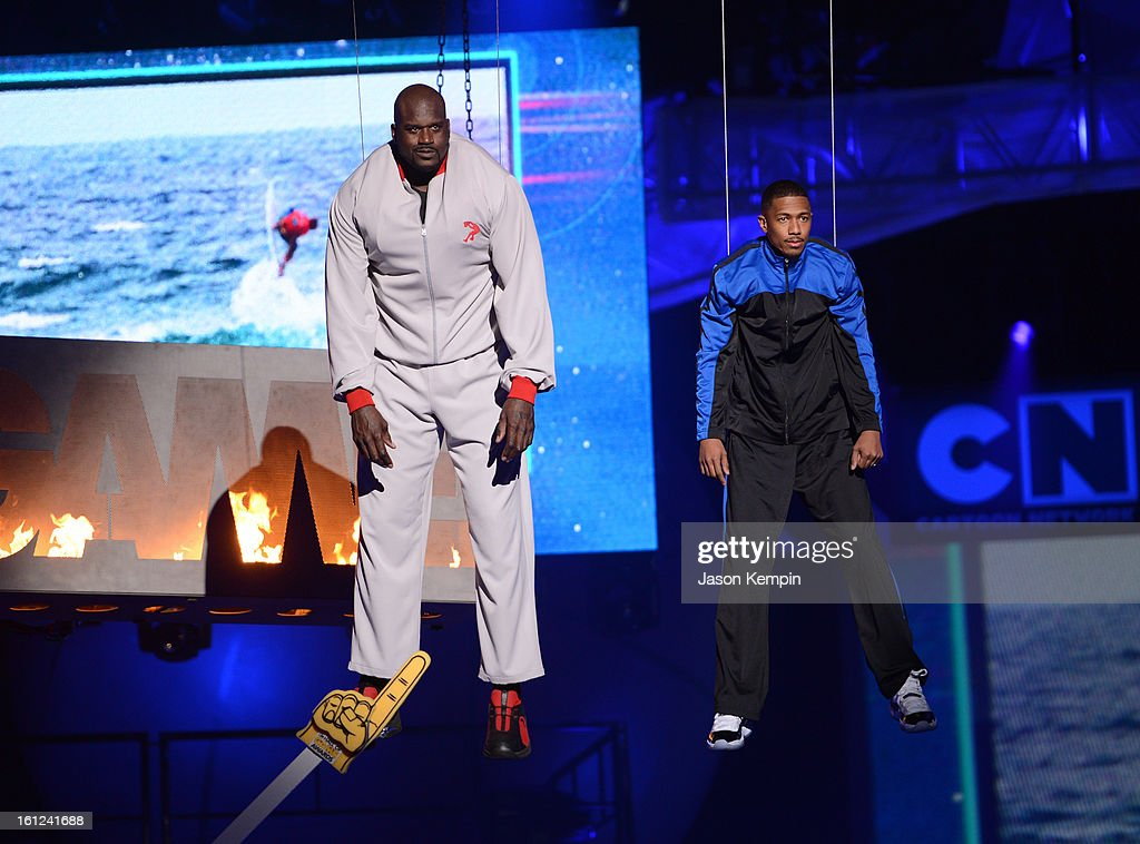 Host Shaquille O'Neal and co-host Nick Cannon look on suspended in the air above the stage at the Third Annual Hall of Game Awards hosted by Cartoon Network at Barker Hangar on February 9, 2013 in Santa Monica, California. 23270_003_JK_0283.JPG