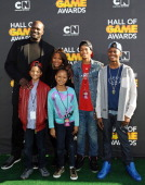 Host Shaquille O'Neal and family attend the Third Annual Hall of Game Awards hosted by Cartoon Network at Barker Hangar on February 9 2013 in Santa...