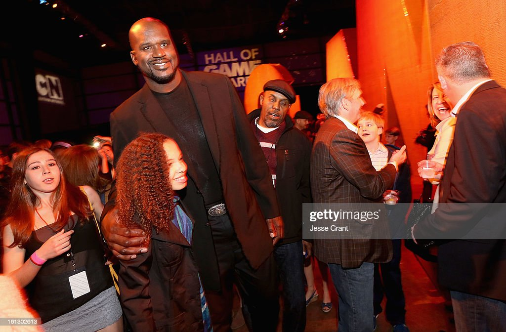 Host <a gi-track='captionPersonalityLinkClicked' href=/galleries/search?phrase=Shaquille+O%27Neal&family=editorial&specificpeople=201463 ng-click='$event.stopPropagation()'>Shaquille O'Neal</a> (C) attends the Third Annual Hall of Game Awards hosted by Cartoon Network at Barker Hangar on February 9, 2013 in Santa Monica, California. 23270_005_JG_0057.JPG