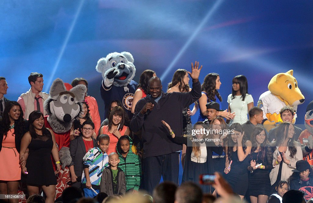 Host Shaquille O'Neal speaks onstage at the Third Annual Hall of Game Awards hosted by Cartoon Network at Barker Hangar on February 9, 2013 in Santa Monica, California. 23270_003_JK_1050.JPG