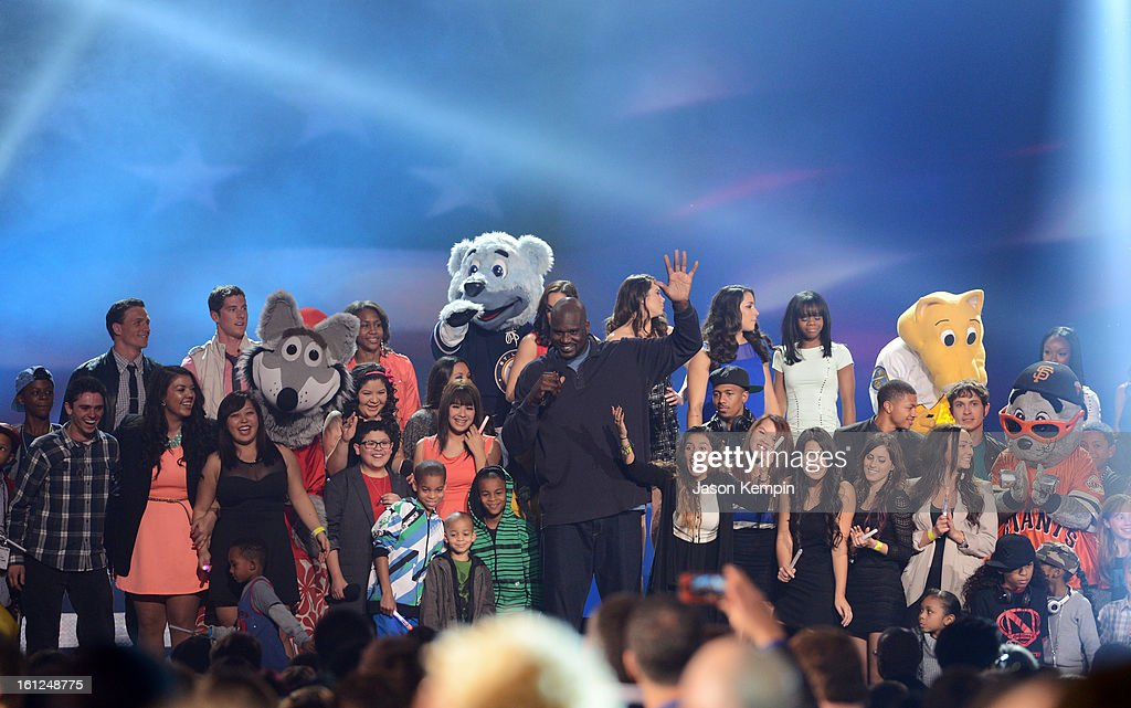 Host Shaquille O'Neal (C) speaks onstage at the Third Annual Hall of Game Awards hosted by Cartoon Network at Barker Hangar on February 9, 2013 in Santa Monica, California. 23270_003_JK_1047.JPG