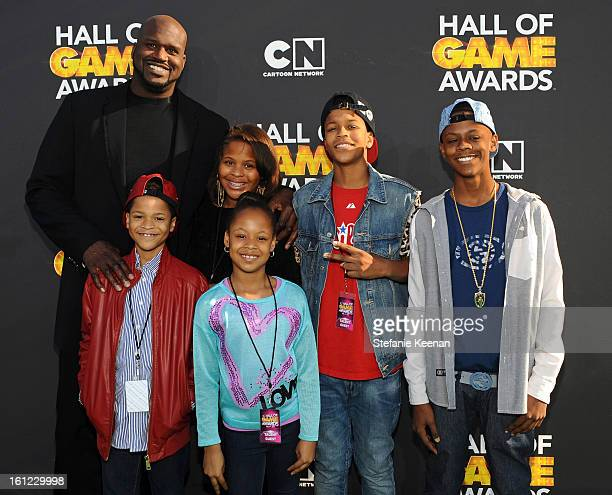 Host Shaquille O'Neal Taahirah O'Neal Me'arah O'Neal Shaqir O'Neal and Myles O'Neal attend the Third Annual Hall of Game Awards hosted by Cartoon...