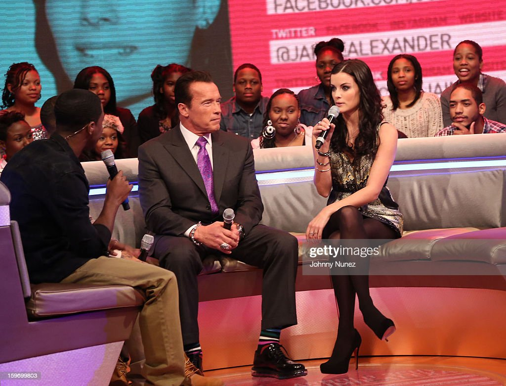 Host Shorty Da Prince, actor Arnold Schwarzenegger and actress Jaimie Alexander visit BET's '106 & Park' at BET Studios on January 17, 2013 in New York City.