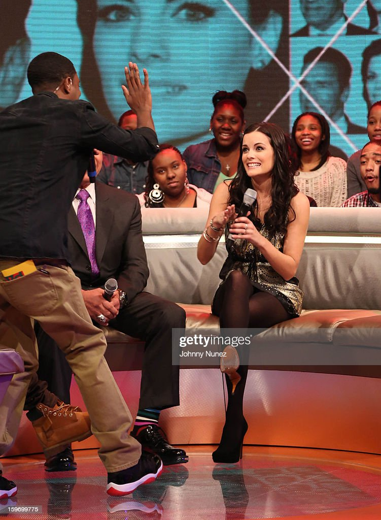 Host Shorty Da Prince and actress Jaimie Alexander visit BET's '106 & Park' at BET Studios on January 17, 2013 in New York City.