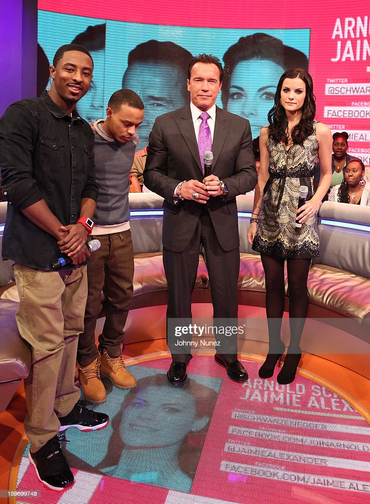 Host Shorty Da Prince, host Bow Wow, actor Arnold Schwarzenegger and actress Jaimie Alexander visit BET's '106 & Park' at BET Studios on January 17, 2013 in New York City.