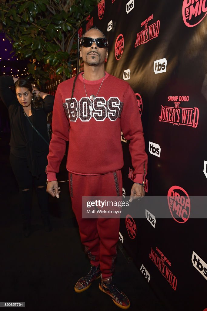 Host Snoop Dogg at TBS' Drop the Mic and The Joker's Wild Premiere Party at Dream Hotel on October 11, 2017 in Hollywood, California. Shoot ID