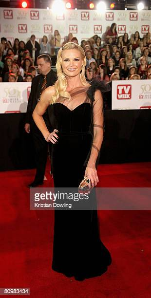 TV host Sonia Kruger arrives on the red carpet at the 50th Annual TV Week Logie Awards at the Crown Towers Hotel and Casino on May 4 2008 in...