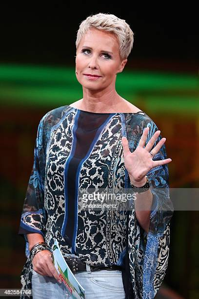 TV host Sonja Zietlow attends the 1st live show of the television show 'Ich bin ein Star lasst mich wieder rein' on July 31 2015 in Huerth Germany