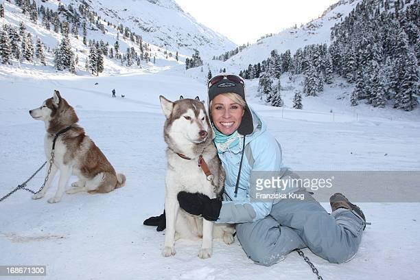 TV Host Sonja Zietlow attends the first celebrity Dog Sled Race in Kühtai
