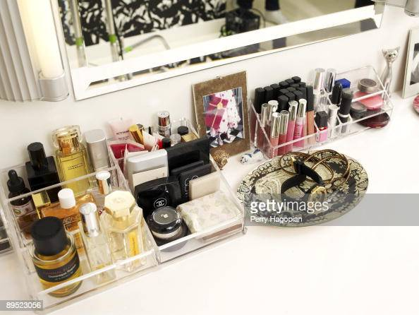 Host Stacy London of 'What Not To Wear' makeup table is photographed for OK Magazine on June 22 2009 in her apartment in New York City