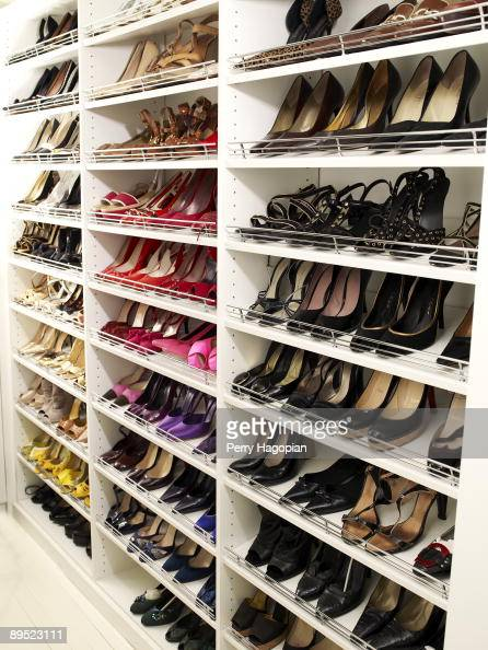 Host Stacy London of 'What Not To Wear' shoe closet is photographed for OK Magazine on June 22 2009 in her apartment in New York City