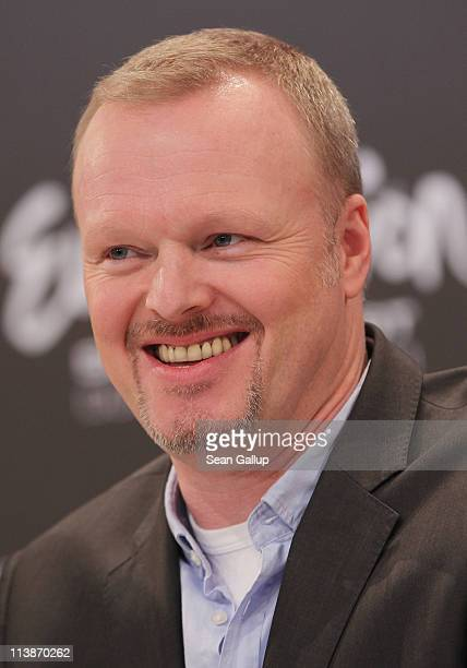 Host Stefan Raab attends a press conference the day before the first semifinals of the Eurovision Song Contest 2011 on May 9 2011 in Duesseldorf...