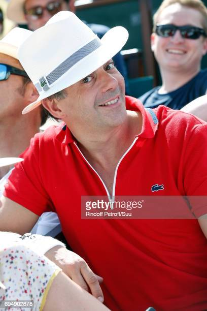 TV host Stephane Plaza attends the Men Final of the 2017 French Tennis Open Day Fithteen at Roland Garros on June 11 2017 in Paris France