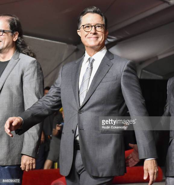 Host Stephen Colbert attends the 69th Emmy Awards Press Preview Day Red Carpet Rollout at Microsoft Theater on September 12 2017 in Los Angeles...