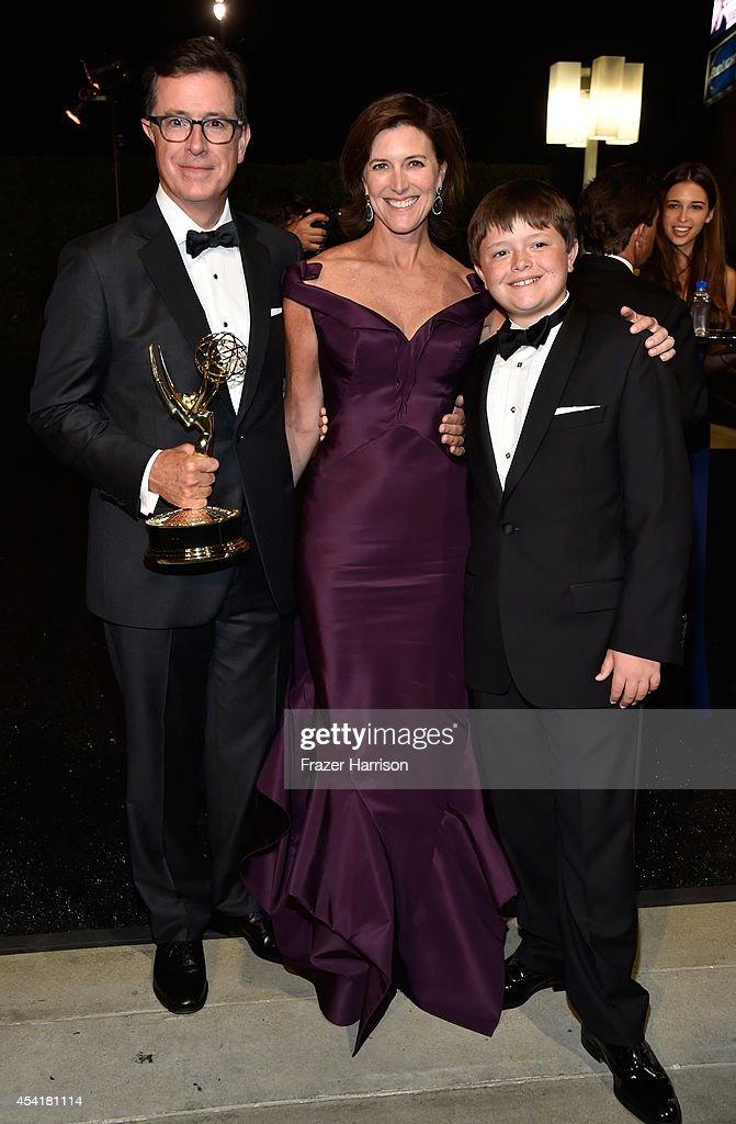 TV host Stephen Colbert, Evelyn McGee and John Colbert attend the 66th Annual Primetime Emmy Awards Governors Ball held at Los Angeles Convention Center on August 25, 2014 in Los Angeles, California.