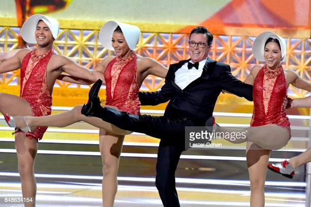 Host Stephen Colbert performs onstage during the 69th Annual Primetime Emmy Awards at Microsoft Theater on September 17 2017 in Los Angeles California