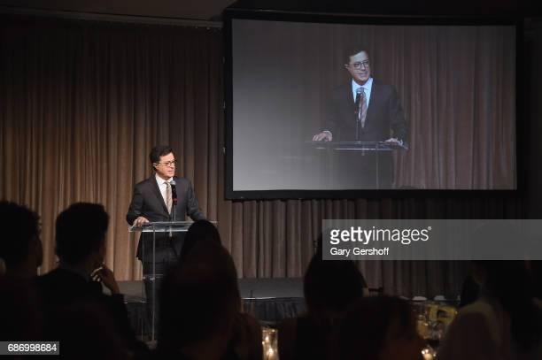 Host Stephen Colbert speaks on stage during the Elevator Repair Service Theater 25th Anniversary gala at Tribeca Rooftop on May 22 2017 in New York...