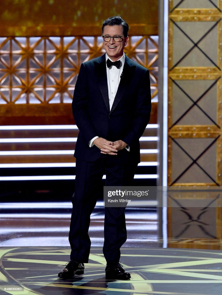 Host Stephen Colbert speaks onstage during the 69th Annual Primetime Emmy Awards at Microsoft Theater on September 17, 2017 in Los Angeles, California.