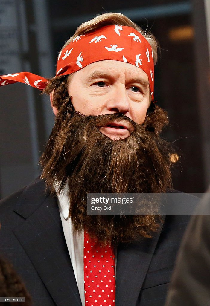 Host Steve Doocy wears a 'Duck Dynasty' costume as 'FOX & Friends' celebrates Halloween at FOX Studios on October 31, 2013 in New York City.