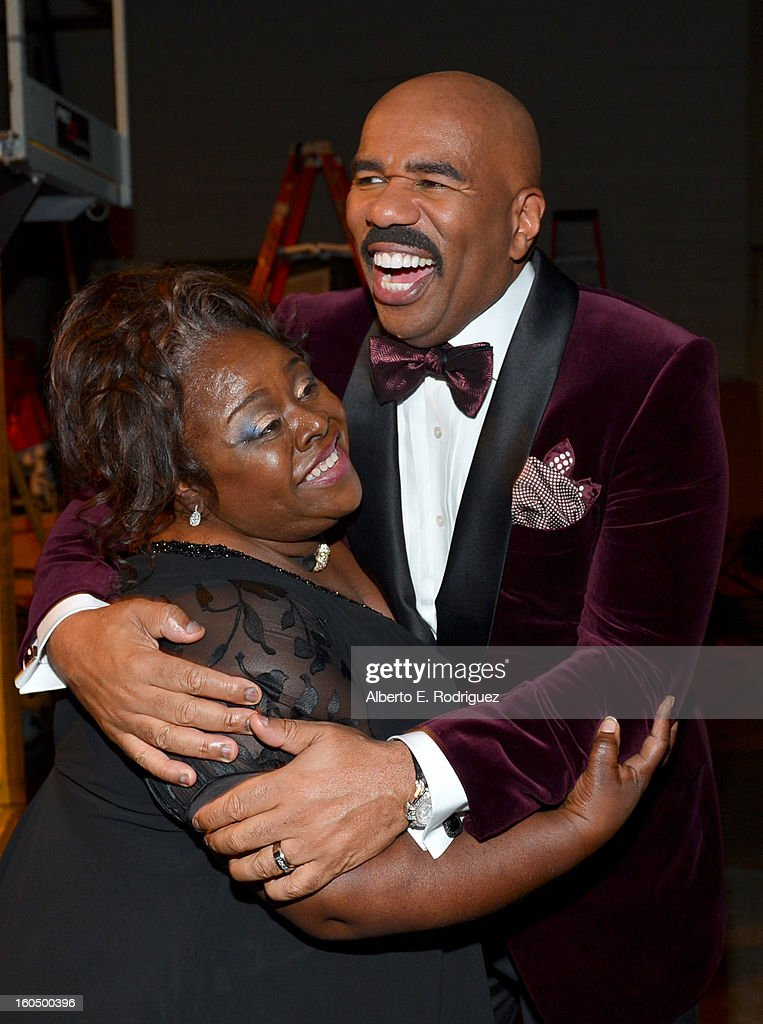 Host <a gi-track='captionPersonalityLinkClicked' href=/galleries/search?phrase=Steve+Harvey&family=editorial&specificpeople=210865 ng-click='$event.stopPropagation()'>Steve Harvey</a> (R) and actress Cassi Davis backstage at the 44th NAACP Image Awards at The Shrine Auditorium on February 1, 2013 in Los Angeles, California.