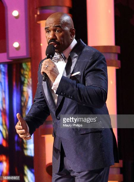 Host Steve Harvey speaks onstage during the BET Celebration of Gospel 2013 at Orpheum Theatre on March 16 2013 in Los Angeles California