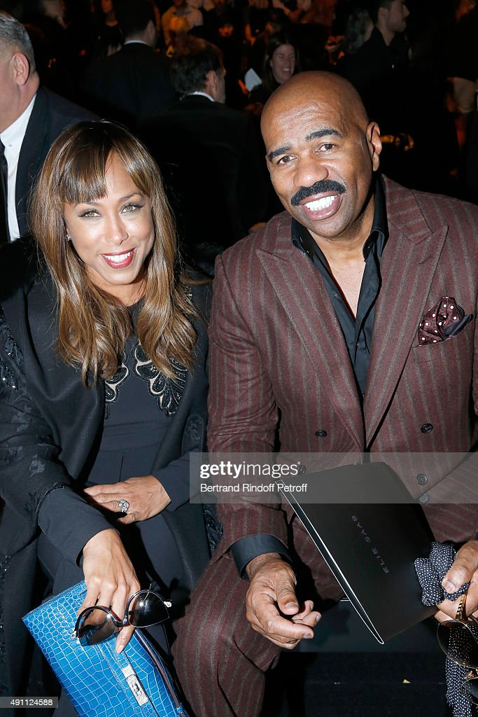 TV Host Steve Harvey with his wife Marjorie attend the Elie Saab show as part of the Paris Fashion Week Womenswear Spring/Summer 2016 on October 3, 2015 in Paris, France.