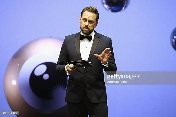 Host Steven Gaetjen speaks onstage at the Award Night Ceremony during the Zurich Film Festival on October 3 2015 in Zurich Switzerland