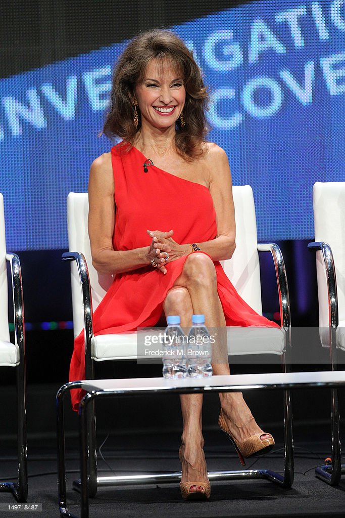 Host <a gi-track='captionPersonalityLinkClicked' href=/galleries/search?phrase=Susan+Lucci&family=editorial&specificpeople=203010 ng-click='$event.stopPropagation()'>Susan Lucci</a> speaks at the 'Deadly Affairs' discussion panel during the Discovery Networks/Investigation Discovery portion of the 2012 Summer Television Critics Association tour at the Beverly Hilton Hotel on August 2, 2012 in Los Angeles, California.