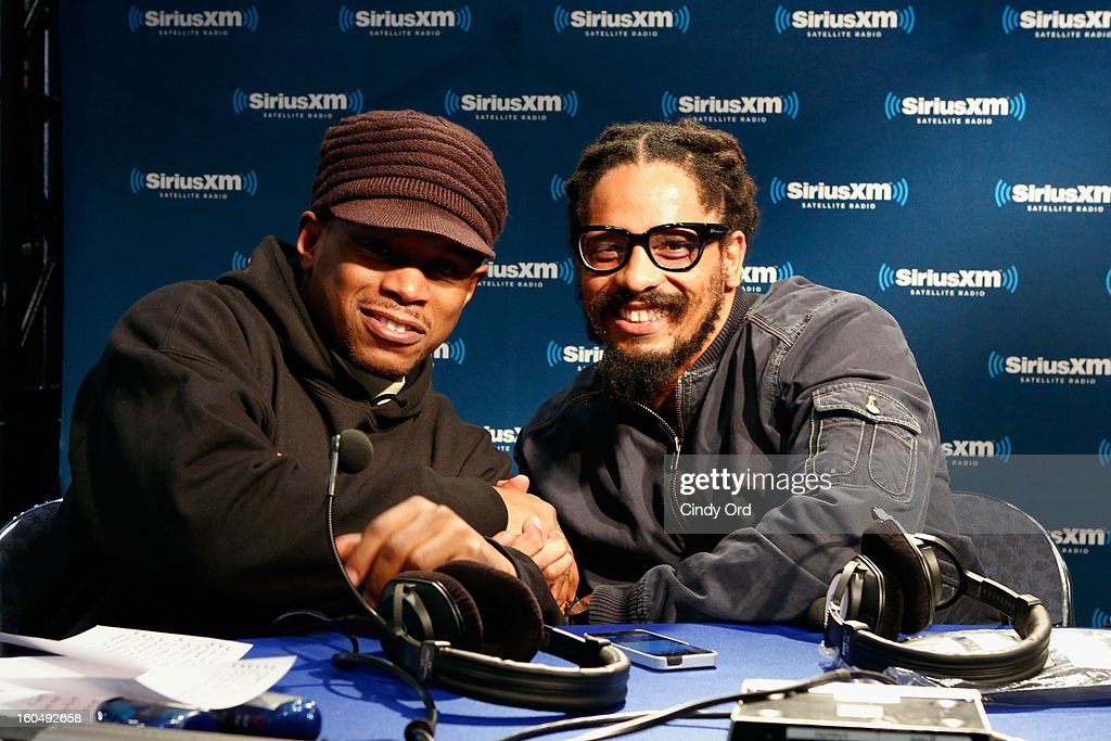 Host Sway Calloway and Rohan Marley attend SiriusXM's Shade 45 channel during the live broadcast from Radio Row during Bowl XLVII week on February 1, 2013 in New Orleans, Louisiana.