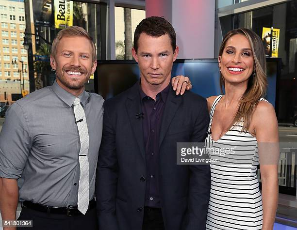 Host Tanner Thomason actor Shawn Hatosy and host Kristen Brockman attend Hollywood Today Live at W Hollywood on June 20 2016 in Hollywood California