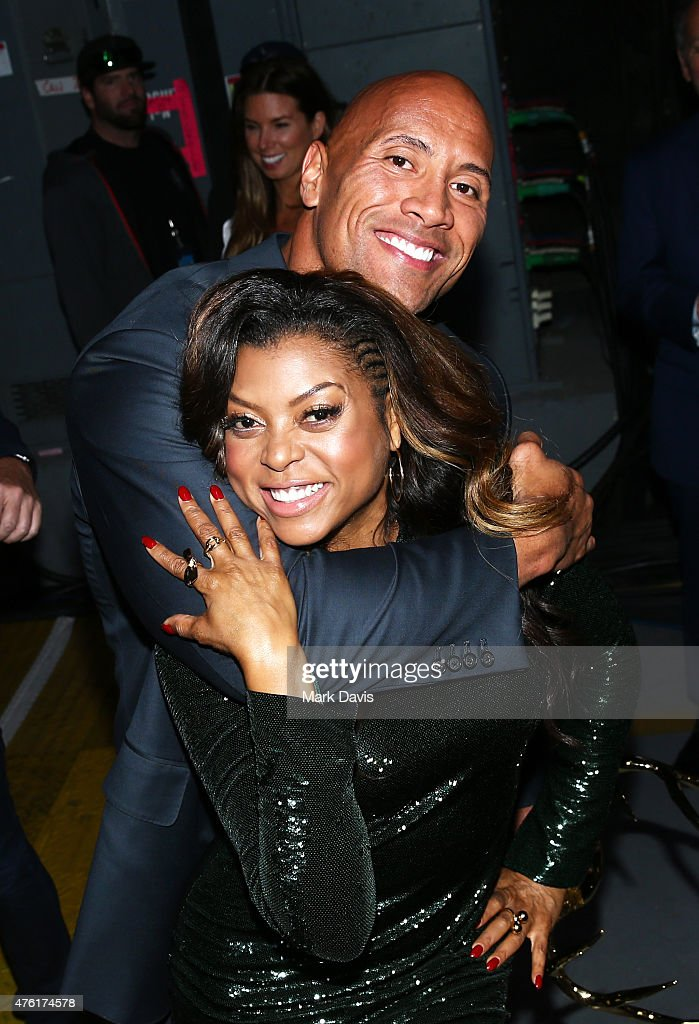 Host Taraji P Henson and actor Dwayne Johnson attend Spike TV's Guys Choice 2015 at Sony Pictures Studios on June 6 2015 in Culver City California
