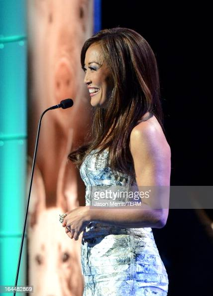 Host television personality Carrie Ann Inaba speaks onstage at The Humane Society of the United States 2013 Genesis Awards Benefit Gala at The...
